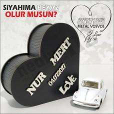 Sevgiliye Hediye Vosvos Ve Kalpli Kutu (siyah-beyaz)