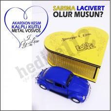 Sevgiliye Hediye Vosvos Ve Kalpli Kutu (sarı-lacivert)