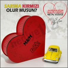 Sevgiliye Hediye Vosvos Ve Kalpli Kutu (sarı-kırmızı)