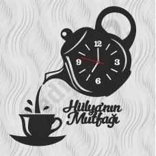 Kişiye Özel Ahşap Mutfak Duvar Saati Çaydanlık