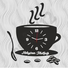 Kişiye Özel Ahşap Mutfak Duvar Saati Kahve Fincanı