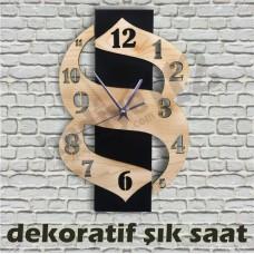 Lazer Kesim Dekoratif Şık Saat